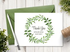 Nature themed Thank you card template Lovely Leaves with naturally beautiful watercolor green leaves wreath. Use for your DIY outdoor wedding or other summer event. Instantly download from Etsy after purchase. Edit your wording in Microsoft Word and print as many as you wish. Cut to trim marks and mail a thank you note to your guests. *This item is a digital file, no physical item will be mailed to you. The envelope is just a suggestion for color combination and it is not included in the tem...