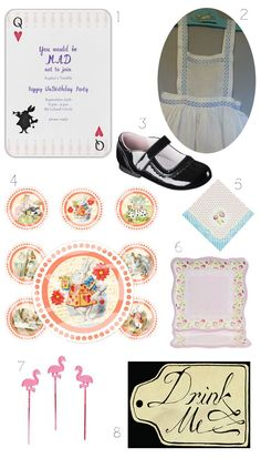 """Alice in Wonderland Party; I thought this would be cute as a baby shower theme, too...you can pretty much do anything with the """"un"""" in the title, for example """"You're invited to a very merry unbabyshower!"""""""
