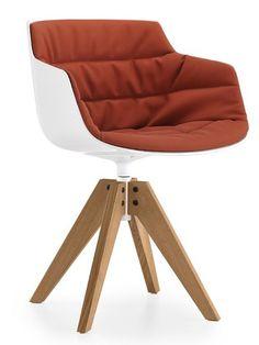 Swivel chair on trestle base FLOW SLIM ARMCHAIR by MDF Italia   #design Jean-Marie Massaud