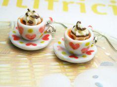 Tazza tazzine ceramica orecchini cuore miniature di OkkinoShop su DaWanda.com