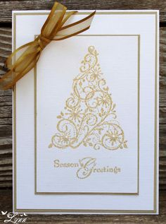 SU Snow Swirled, gold embossed on textured card stock  (July 9, 2012)