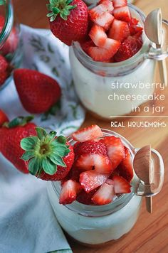Strawberry Cheesecake in a Jar is a scrumptious, no-bake dessert you can take with you on-the-go!