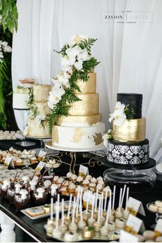 Wedding cake- Green, gold, black and white wedding cake. Cake by Kelly Jaynes in Johannesburg, South Africa - best cakes in the country! Gay wedding cakes