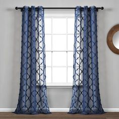 Avon Trellis Grommet Sheer Window Curtain Panels Navy Set - Lush Decor stylish new sheer window panel set will let plenty of light into your home while still providing privacy from neighbors. The classic trellis pattern will turn heads Royal Blue Curtains, Blue Curtains Living Room, My Living Room, Navy Curtains Bedroom, Blue Pattern Curtains, Blue And White Curtains, Burgundy Curtains, Bedroom Comforters, Country Curtains