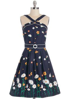 Garden Crossing Dress. You know the way to a stylish look, and it starts with this pleated, navy fit and flare by Trollied Dolly. #multi #modcloth