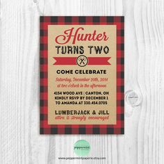 Lumberjack buffalo plaid thank you card - custom pdf download ...