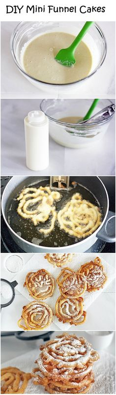 DIY Mini Funnel Cakes  Ingredients:  Vegetable oil, for frying 2 cups Original Bisquick mix 1 cup milk 2 eggs Powdered sugar, for topping