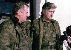 Bosnian War - Bosnian Serb leader Radovan Karadzic (right) and General Ratko Mladic speak to reporters on November 4, 1992. (Reuters/Stringer)