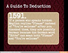 A Guide to Deduction- also true for Czech, Dutch, Polish, and Russian