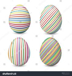 Collection of Easter eggs. Painted and decorated eggs isolated on the white background. Egg Decorating, Easter Eggs, Painting, Image, Collection, Easter, Painting Art, Paintings, Paint