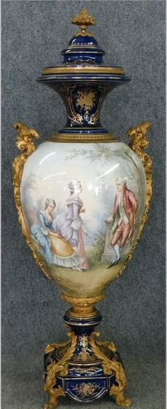 FRENCH SEVRES-STYLE ORMOLU-MOUNTED URN