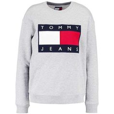 TOMMY JEANS 90S Sweatshirt mottled grey ($115) ❤ liked on Polyvore featuring tops, hoodies, sweatshirts, grey sweatshirt, tommy hilfiger top, grey top, tommy hilfiger sweatshirt and gray top