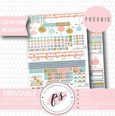 Free Printable Sweet Easter Classic Happy Planner Stickers | April 2018 Monthly Kit | Plannerologystudio {checkout required}