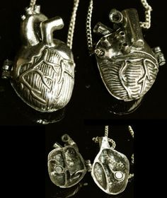 Halskette-Medaillon-Steampunk-Herz-Kette-Golden-Vampire-Gothic-Locket-Necklace