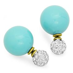STEELTIME Stylish Double Sided Tribal Pearl Earrings Turquoise *** You can get additional details at the image link.