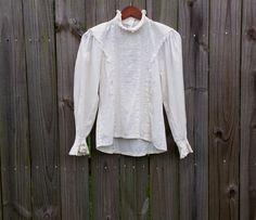 XS S Vintage 80s Cotton Linen Cream by PinkCheetahVintage on Etsy