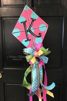 Kite Door Hanger, Spring Door Hanger, Summer Door Hanger by DesignsAshleyNichole on Etsy https://www.etsy.com/listing/500830944/kite-door-hanger-spring-door-hanger