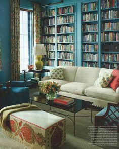 There's a wonderfully colorful townhouse designed by interior designer Katie Ridder in this month's Elle Decor that we just had to share.
