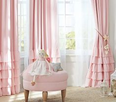 Pink and grey curtains for nursery curtains for the nursery linen blend ruffle bottom blackout panel Cortinas Shabby Chic, Rideaux Shabby Chic, Princess Curtains, Princess Room, Princess Nursery, Beautiful Curtains, Cool Curtains, Pink And Grey Curtains, Pink Ruffle Curtains