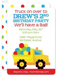 Dump Truck with Balls Birthday Invitation | Swanky Press - great for the boy who's obsessed with trucks AND balls!  Love the dots on the back...