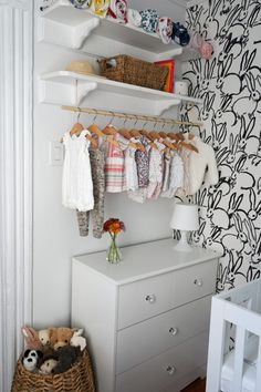 Tiny Brooklyn Nook-Turned-Nursery - Project Nursery Love the open concept closet for this small nurs Nursery Nook, Girl Nursery, Project Nursery, Nursery Ideas, Nursery Shelving, Nursery Layout, Nursery Storage, Nursery Rugs, Nursery Wallpaper