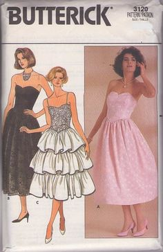 MOMSPatterns Vintage Sewing Patterns - Butterick 3120 Vintage 80's Sewing Pattern BEAUTIFUL Strapless Basque Waist Lace or Triple Tier Flounced Skirt Cocktail Party Dress Size 6-10