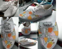 Funky Geometric Hand Painted Shoes