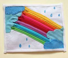Rainbow zipper. Quiet book page