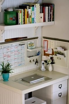 Office Nook. Like the idea of utilizing the wall for sttorage  organization when the work space itself is small.
