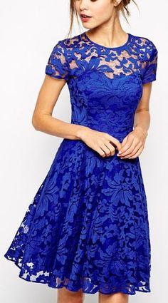 Blue Floral Grenadine Double-deck Short Sleeve Lace Dress