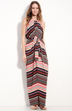 Suzi Chin for Maggy Boutique Stripe Jersey Halter Dress