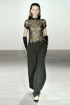 French Metallic Lace High Neck Top and Verdi Sequin Wool Wide Pant - Collette Dinnigan