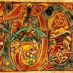 Interlacing lions and vines from the Book of Kells, illuminated manuscript. Just beautiful work done in dank, dark rooms. I remember when the Book of Kells came to NY in the the more I looked the more I saw. Celtic Pride, Irish Celtic, Celtic Art, Celtic Symbols, Book Of Kells, Illuminated Letters, Illuminated Manuscript, Celtic Christianity, Irish Roots