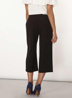 Womens Belted Wide Leg Crop Trousers- Black
