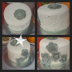 White Fondant Cake with Grey and Silver Brush Embroidery Flowers