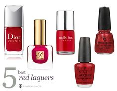 The best 5 red nail polishes for perfect red nails!   dior red roaylty, nailsinc st james & more!   click through to find out about them all
