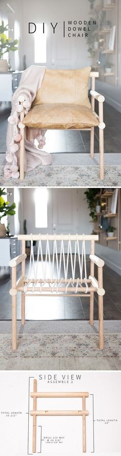Check out the tutorial how to make a DIY wooden dowel chair for home decor @istandarddesign