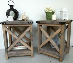 PAIR-of-NEW-Handmade-Rustic-Side-Tables-Coffee-Tables
