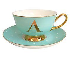 Teetasse Alphabet mit Untertasse, H 6 cm