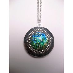 Green Opal Locket Necklace ($28) ❤ liked on Polyvore featuring jewelry and necklaces