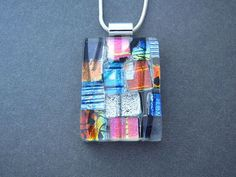 Confetti Fused Dichroic Glass Pendant and Necklace by ccvalenzo Dichroic Glass Jewelry, Fused Glass Art, Glass Pendants, Mosaic Glass, Stained Glass, Glass Fusing Projects, Kiln Formed Glass, Oeuvre D'art, Jewelry Making