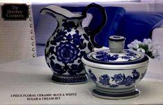 Sugar Bowl and Creamer Set 2pc Ceramic Blue White Floral The Bombay Company New #BombayCo