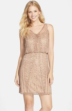Free shipping and returns on Adrianna Papell Beaded Dress at Nordstrom.com. Rays of beading and a scatter of sequins embellish the sheer overlay of a retro-glam cocktail dress nipped in at the waist for a blouson fit.