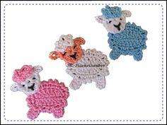 Häkelapplikationen - Schaf (freie Farbwahl) - ein Designerstück von HC-Haekelzauber bei DaWanda