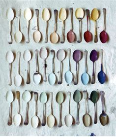 collect thrift store spoons. dip in your favourite paint.
