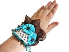 Aqua, Brown Statement Cuff Bracelet. Unique Hand made design. Beaded flower fabric cuff bracelet