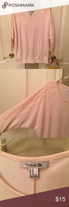 Light pink forever 21 lace sweater Light pink 3/4 sleeve sweater from forever 21 in a medium. In great condition Forever 21 Sweaters