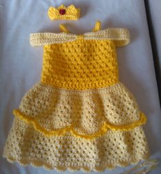 Copy of Crochet Baby Belle Beauty and the Beast Infant Newborn Baby Dress Beanie Hat Shoes Rose Set Handmade Photography Photo Prop Baby Shower Gift P Baby Girl Crochet, Crochet Baby Clothes, Cute Crochet, Crochet For Kids, Crochet Crafts, Knit Crochet, Crochet Baby Outfits, Crochet Princess, Crochet Dresses