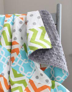 Items similar to Patchwork Baby Blanket - Orange, Green, Aqua and Grey Baby Quilt, Baby Blanket on Etsy Bright Nursery, Orange Bedding, Patchwork Baby, Green Aqua, Baby Quilts, Fabric Design, Baby Car Seats, Blanket, Grey