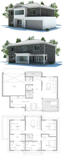 Modern House with three bedrooms, open planning, suitable to narrow lot, garage. Covered terrace for outside dining. Floor Plan from ConceptHome.com